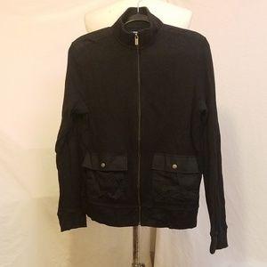 MICHAEL KORS Zip Front Black Thermal Sweatshirt